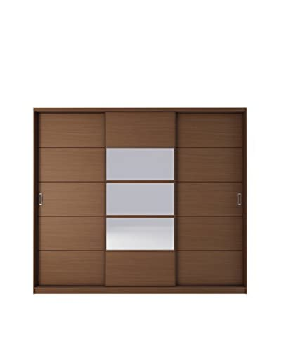 Manhattan Comfort Adrian Mirrored 6-Drawer/7-Shelf Sliding Door Wardrobe, Nut Brown