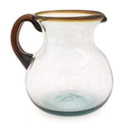 Mexican Glass Bola Pitcher Amber