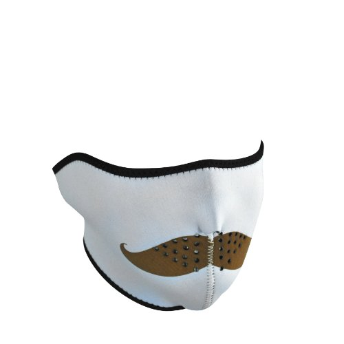 Zanheadgear Neoprene 'Mustache' Design Half Mask (White, One Size) front-1072110
