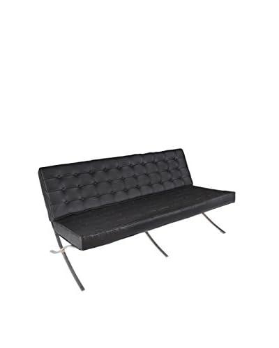 Regency Leather & Chrome Sofa, Black