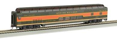 Imagen de 85 '- Budd completa Dome - Great Northern (naranja y verde) vehículos de pasajeros con interior iluminado. Escala HO