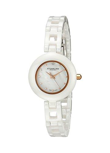 Stuhrling 921.01 - Orologio da polso da donna, cinturino in ceramica colore bianco