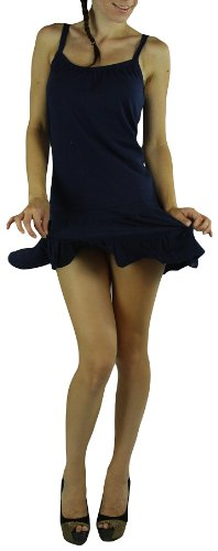 ToBeInStyle Women's Soft Knit Ruffled Sundress - Medium - Navy