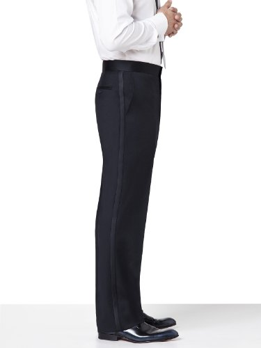 Flat Front Tuxedo Pant in Tollegno Wool by Dessy Group - Black - Size 34/adj
