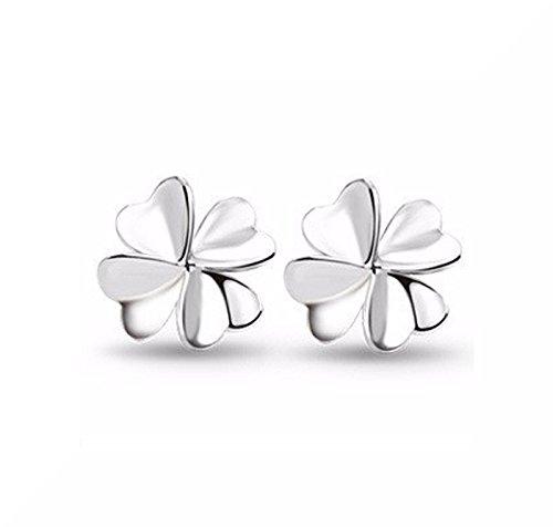 Forma di trifoglio orecchini a perno, placcati argento con farfalla e senza confezione regalo