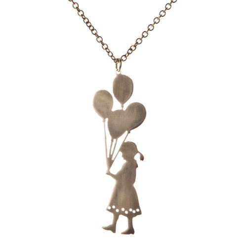 Oi! Hand Made Brass Girl With Balloons Necklace