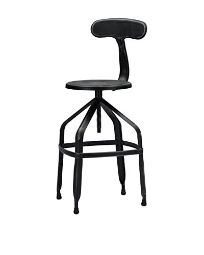Baxton Studio Architect's Industrial Bar Stool with Backrest, Antique Black