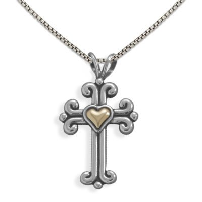Fleuree Cross Necklace with 14K Gold Heart - Made in the USA, 18-inch