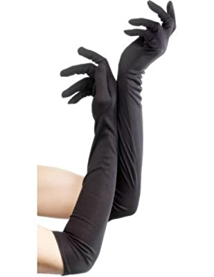 Smiffys Elbow Length Gloves Black