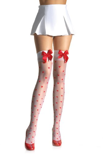 Leg Avenue – Satin Bow Woven Hearts Stockings – 1018
