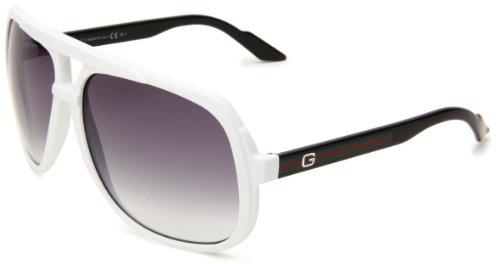 Gucci 1622/S Aviator Sunglasses,White & Black Frame/Grey Gradient Lens,One Size