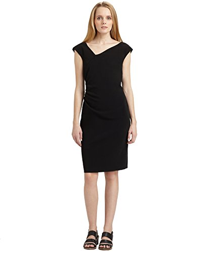 weekend-maxmara-womens-nigella-black-asymmetrical-neck-dress-size-6