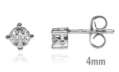 Sterling Silver 925 Genuine Diamond Accents 0 .03cts (Color H-I, Clarity I3) Stud Earrings