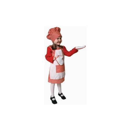 Pretend Red Gingham Girl Chef Child Costume Dress-Up Set Size 16-18