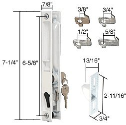 "Keyed White Flush Mount Sliding Glass Door Handle Set 6-5/8"" Screw Holes With Four Hook Assortment front-591021"