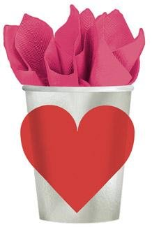 Amscam Valentines Day Key to Your Heart Paper Cups (8 Per Pack), 9 oz, Multicolor