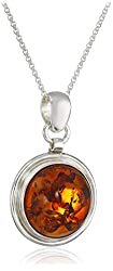 Honey Amber Sterling Silver Round with Chain Pendant Necklace, 18""