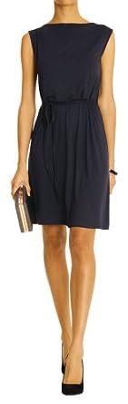 bestyledberlin Abendkleid, Kleid mit Rundhalsuasschnitt, Ärmellose Kleider k19p 34/XS dunkelblau