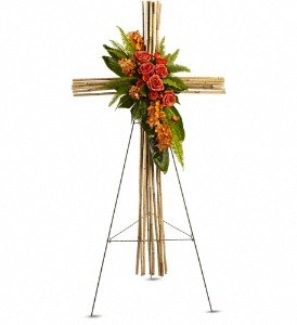 Funeral Flowers - River Cane Cross for Funeral by Teleflora