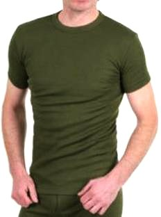 OCTAVE® Thermal Underwear : Mens Thermal Short Sleeve Vest / T-Shirt [Army Green, Medium] - Made in England