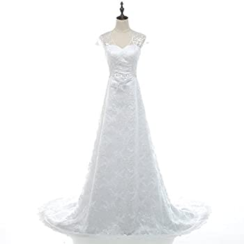 Vintage Lace Country Wedding Dresses Cap Sleeve Sheer Boho A line Bridal Gowns
