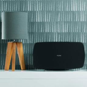 Pure Jongo T6 Wireless Speaker (Black/White) used horizontally in a room