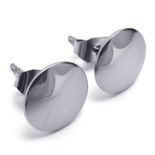 Konov Jewellery Stainless Steel Men's Stud Earrings Set, 1 Pair 2pcs, Color Silver (with Gift Bag)