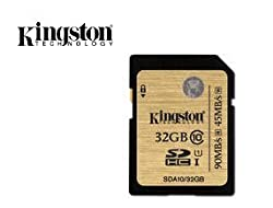 Kingston 32GB Class 10 UHS-I 90R/45W SDHC Card