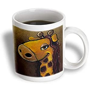 3dRose Female Giraffe Cartoon Painting Ceramic Mug, 15-Ounce