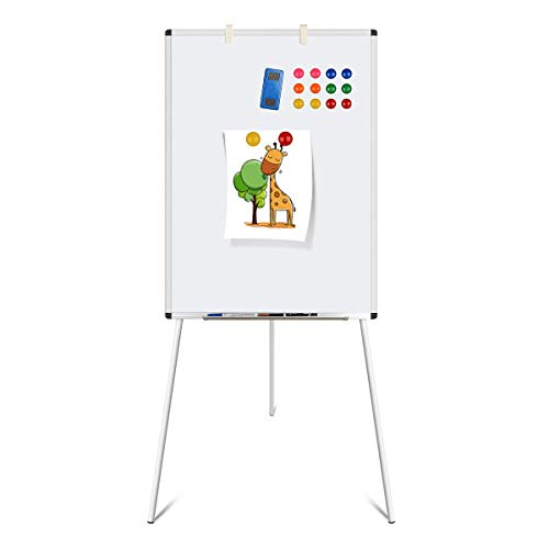 Dry Erase Board, Magnetic Whiteboard with Tripod Stand, Adjustable Height, Lightweight Easel Whiteboard with 1 Eraser, 4 Markers, 12 Stickers