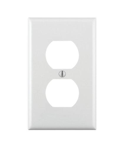 Leviton 80703-W 1-Gang Duplex Device Receptacle Wallplate, Standard Size, Thermoplastic Nylon, Device Mount, White