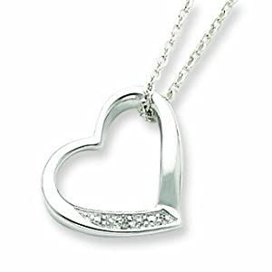 Sterling Silver Heart with Diamond Necklace