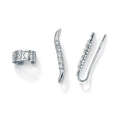 Cubic Zirconia Silver Ear Pins