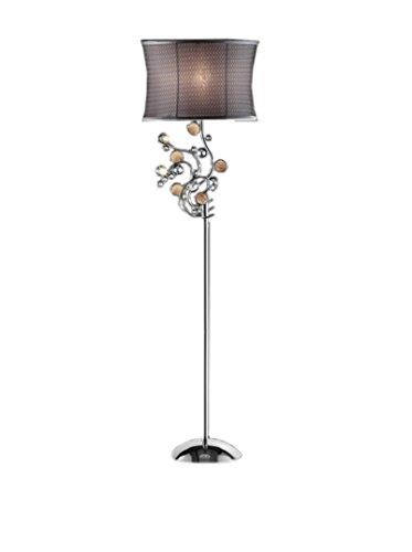 ORE International Enigma 1-Light Floor Lamp, Silver/Gray