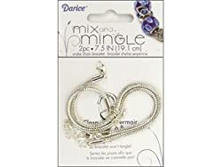 Darice 7-1/2-Inch Sterling Silver Plated Snake Chain Bracelet, 2-Piece