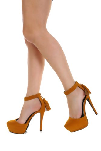 Qupid Velvet Ankle Tassel High Heel Stiletto Platform Pumps Qutatum-55 Mustard or Purple (7, Mustard..