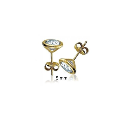 Bling Jewelry Mens CZ Martini Set Gold Vermeil Bezel Stud Earrings 5mm
