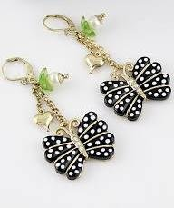 Polka dot black butterfly with pearl Earrings Jewelry For Girls Ladies By JewelQueen