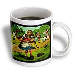 3Drose Alice In Wonderland Golfing Ceramic Mug, 15-Ounce
