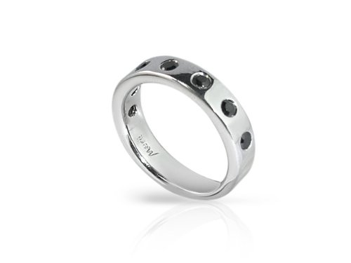 Merii Sterling Silver Black Cubic Zirconia Half Eternity Ring
