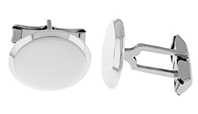 Sterling Silver Edged Oval Shape Personalize Engravable Solid Cufflinks