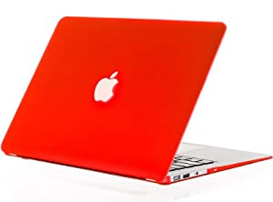 """Kuzy - AIR 13-inch RED Rubberized Hard Case for MacBook Air 13.3"""" (A1466 & A1369) (NEWEST VERSION) Shell Cover - Red"""