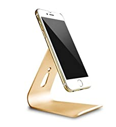 Nano technology Micro-Suction Stand For iPad pro iPhone Aluminum stand Cellphone tablet PC 2in1 Holder Cradle/ Desktop charging station Stand (Gold)