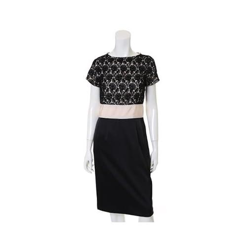 (イネド)INED dress レースコーティングワンピース ブラック 07
