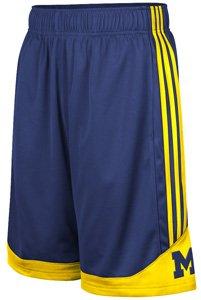Buy adidas Michigan Wolverines Navy Gold 3-Stripe Shorts by adidas