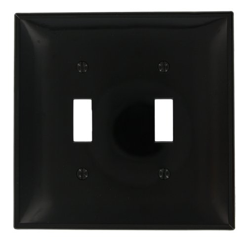Leviton PJ2-E 2-Gang Toggle Switch Wallplate, Midway Size, Black (Leviton Door Switch compare prices)