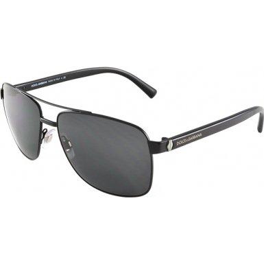 Dolce & Gabbana DG2131 Sunglasses-110687 Matte Black (Gray Lens)-57mm