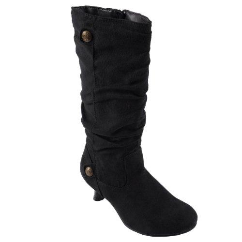 Journee Collection Girls Suede Button Detail Kitten Heel Slouchy Boots