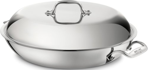 All-Clad 4400 Stainless Steel Tri-Ply Bonded Dishwasher Safe Braiser Pan with Domed Lid / Cookware, Silver