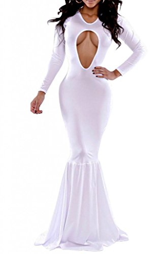 Romanse Women'S Black Mermaid Bodycon Stretch Evening Club Maxi Dress Gown White